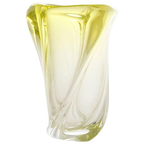 vintage handblown murano ombr 233 citron glass vase for sale