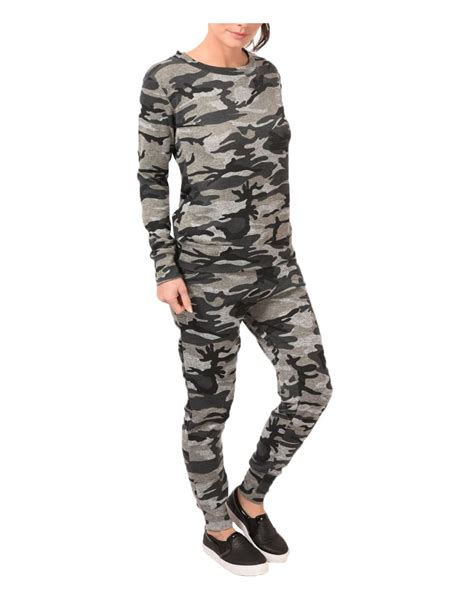 Loungewear Set Print Top womens camouflage print loungewear