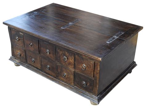 Santa Cruz Pillbox Storage Trunk Coffee Table With 10 Decorative Trunks For Coffee Tables