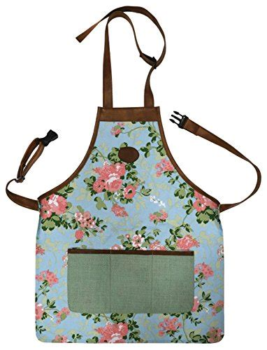 apron pattern with adjustable neck strap floral outdoor gardening tool apron adjustable straps