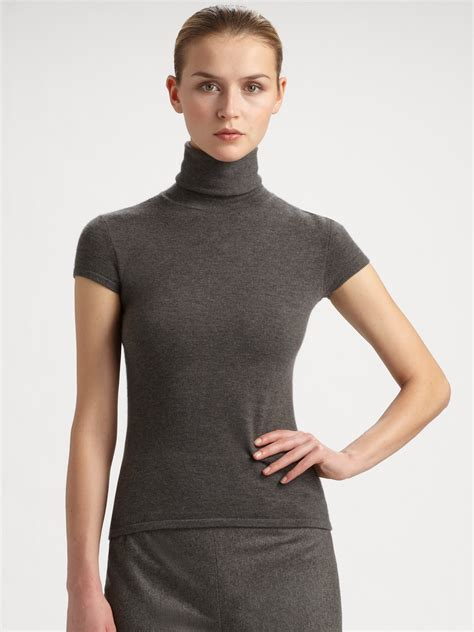 Gray Turtle Neck Top Z006 ralph collection capsleeve turtleneck top in gray lyst