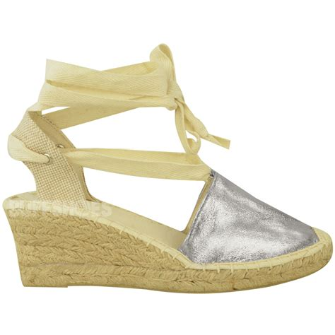 Wedges Fladeo Gliter womens summer wedges low heel espadrilles lace up glitter shoes size ebay
