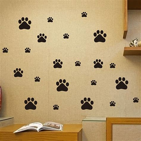 funny dog cat paw print poster  kids room home decal