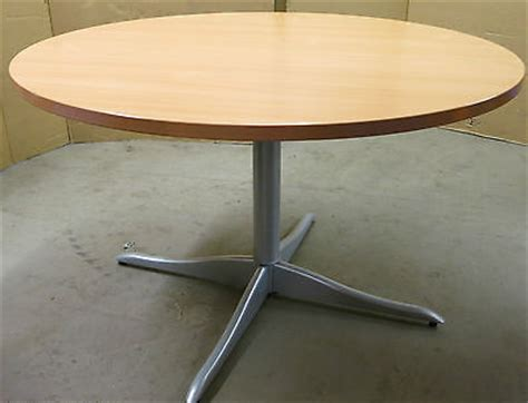 Circle Meeting Table Beech Wood Circle Boardroom Meeting Table And 4x Herman Miller Blue Office Chair