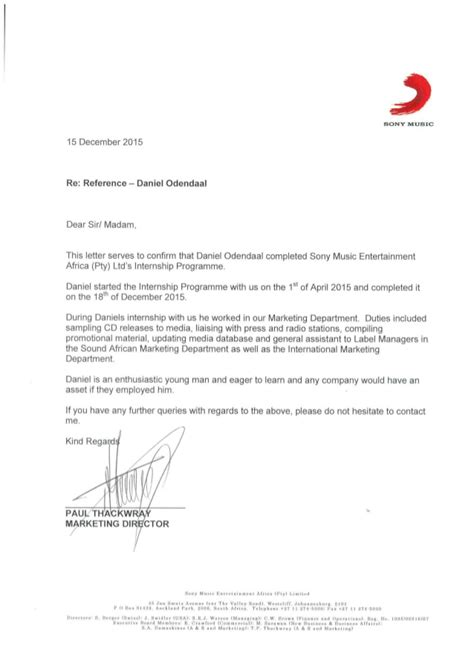 Reference Letter From Employer Marketing Reference Letter From Marketing Manager