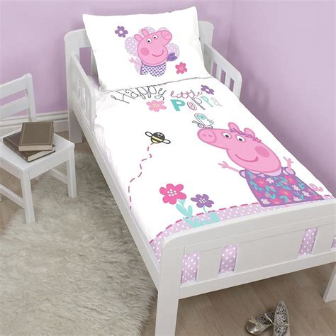 Cotbed Bedding Set New Peppa Pig Junior Toddler Cot Bed Duvet Quilt Cover Set White Bedroom Ebay
