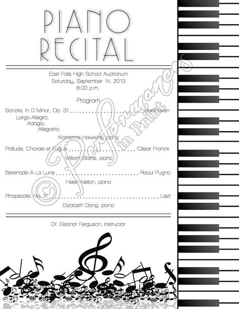 Musical Program Template by Top 25 Ideas About Piano Recital On Program