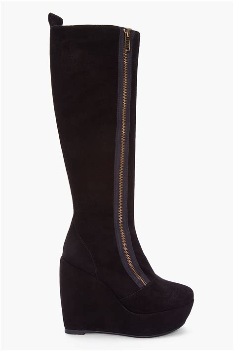 marc by marc black suede wedge boots in black lyst