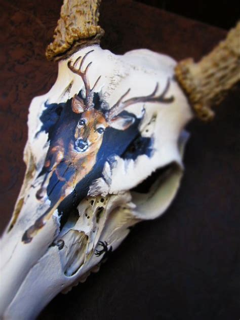 painted deer skulls entire skull is painted with a bone colored paint to smooth things out