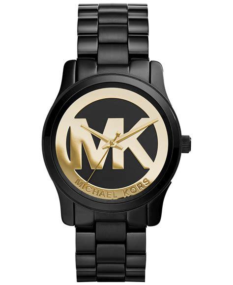 new michael kors mk6057 runway gold mk logo black ion