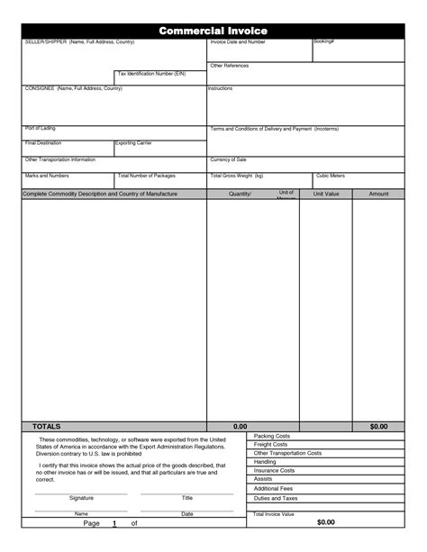 template for commercial invoice commercial shipping invoice template invoice template 2017