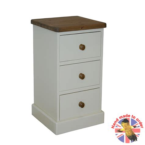 Narrow Bedside Table With Drawers Farrow White 3 Drawer Narrow Bedside