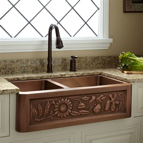 Farmhouse Copper Kitchen Sink 33 Quot Vine Design 60 40 Offset Bowl Copper Farmhouse Sink Kitchen