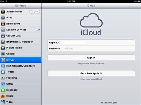 apple id login how to use icloud on ipad ios 5
