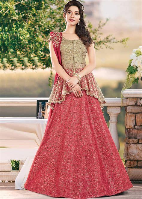 Lehenga Exclusive India 09 pink lehenga with golden peplum type choli express shipping fashion 1370lg13