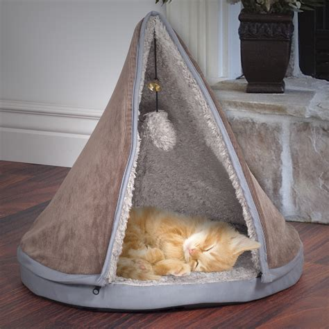 Cat Bed Pattern Petmaker Sleep Amp Play Cat Bed Removable Teepee Top