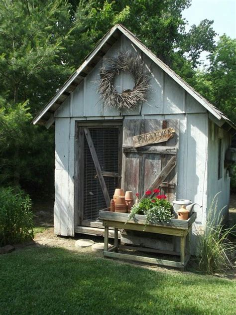 shed benches farmhouse touches potting benches sheds pinterest