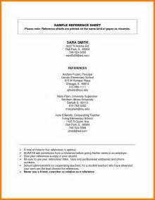 references resume sle sle reference sheet for resume 28 images professional
