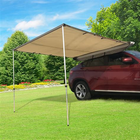 canopy tent with awning outsunny car awning portable folding retractable rooftop