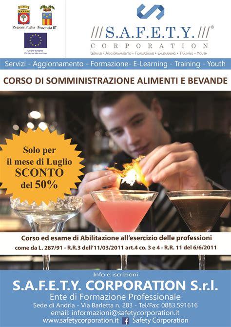 abilitazione alla somministrazione di alimenti e bevande safety corporation corso ed esame di abilitazione alla