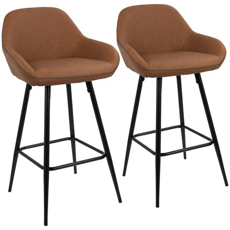 Black Faux Leather Counter Stools by Lumisource Clubhouse 26 In Black And Brown Vintage Faux