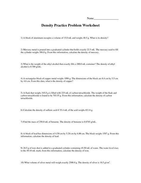 Density Worksheet by Density Practice Problems Worksheet Photos Gavilles