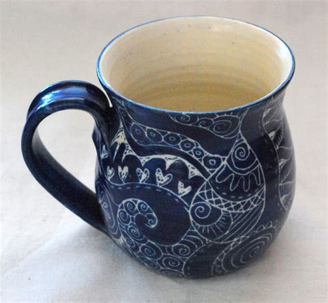 Handmade Mugs - unique coffee mug handmade and decorated mug for coffee