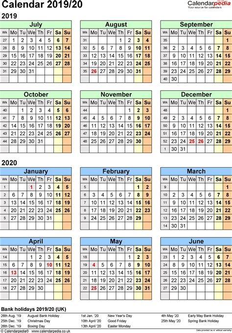 printable year   glance calendar