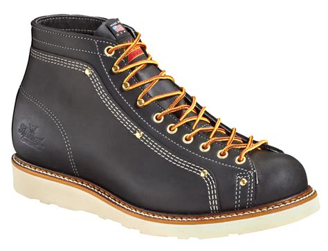 thorogood mens wedges black leather work boots lace to toe