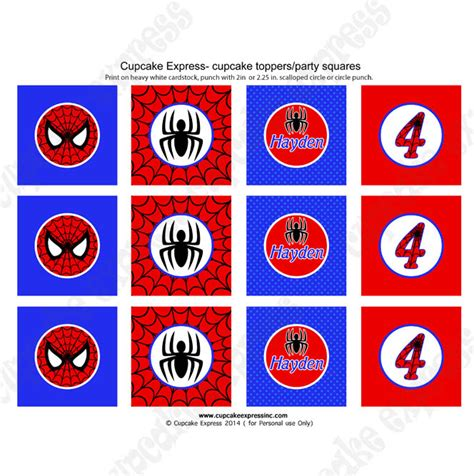 printable spiderman party decorations spiderman printable cupcake toppers diy little boy