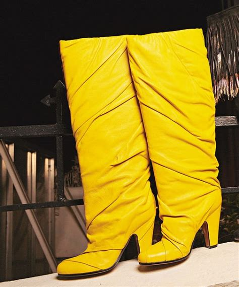 yellow knee high boots maison martin margiela yellow knee high boots