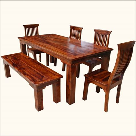 Dining Table Set With Bench And Chair Sets Rustic Solid Casual Dining Table And Chairs