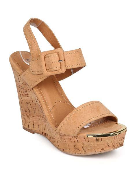 Wedges Kelsey new qupid kelsey 01 suede open toe slingback cork wedge sandal ebay