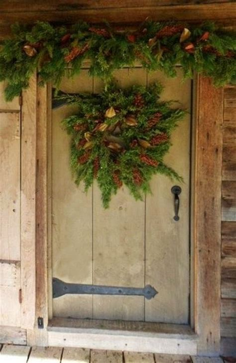 Rustic Front Door Garland And Wreath Prim Christmas Front Door Garland