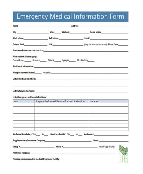emergency info form gse bookbinder co