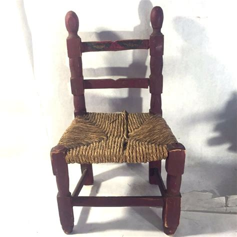 Childs Chair - vtg ladder back painted primitive child s doll wood chair