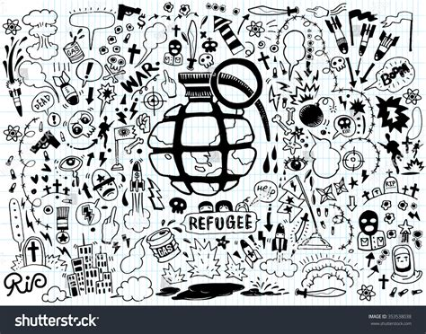 doodle war drawing doodle war collectionflat design stock vector
