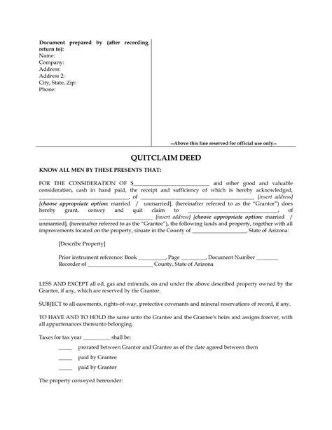 Free Printable Quit Claim Deed Form Arizona | arizona quitclaim deed form for best free home