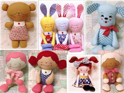 Handmade Toys Patterns - rag doll softie patterns to sew soft toys animals