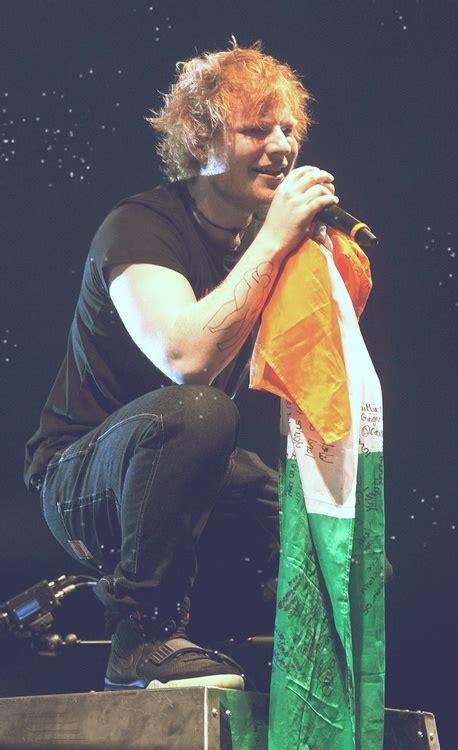 ed sheeran irish an irishman with an irish flag at an irish concert in