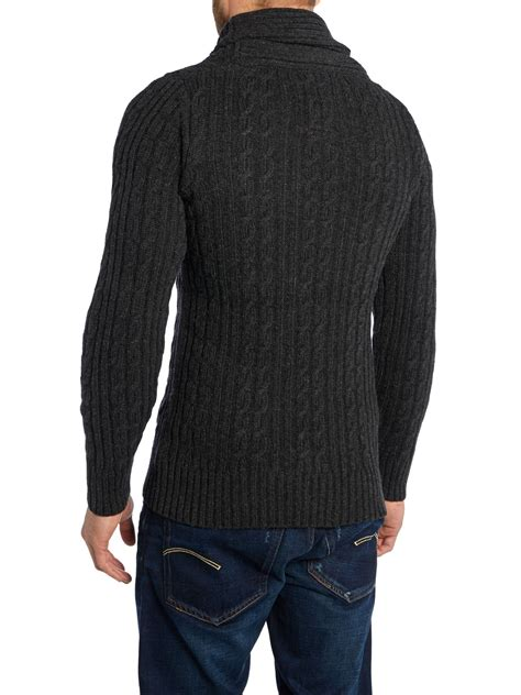 G Shawl Collar Cable Knit Cardigan In Black For