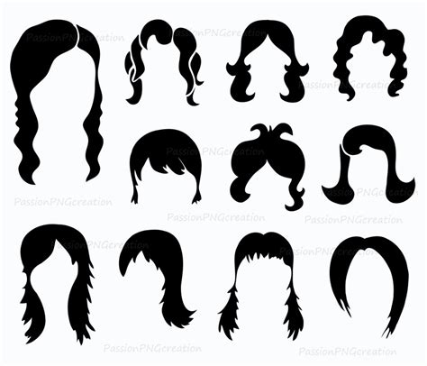 hair style photo booth digital wig clipart photobooth props printable digital hair