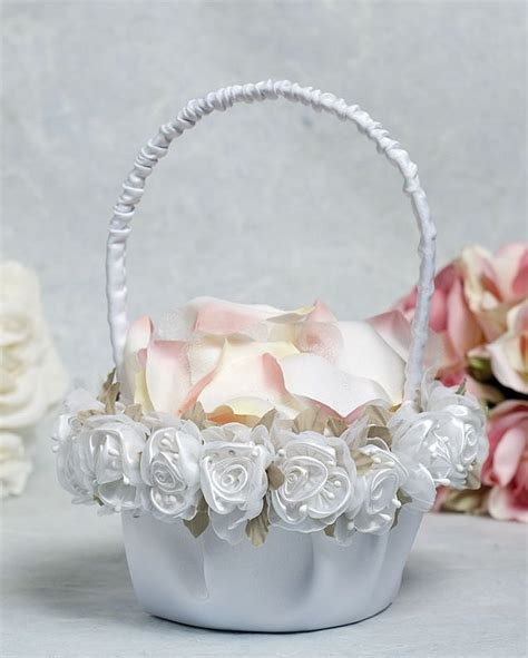 Flower Wedding Baskets by Plush Satin And Organza Wedding Flower Basket