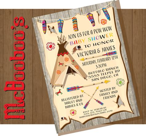 baby shower invitations indian tribal american indian baby shower invitations with feathers