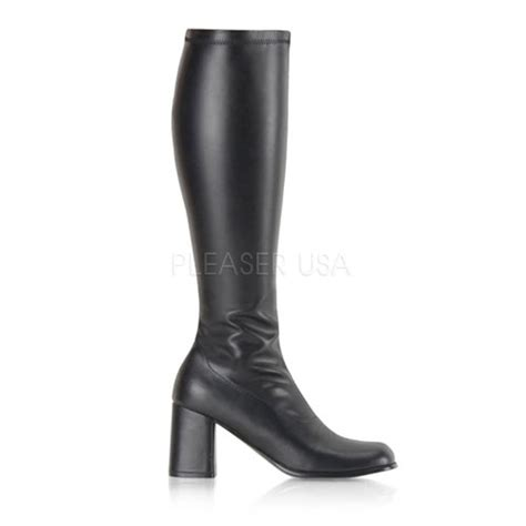 black stretch faux leather block heel gogo boots boots