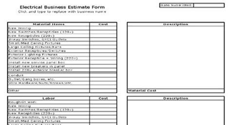Electrical Business Estimate Sheet Electrical Quote Template Excel