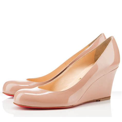 christian louboutin miss boxe 70mm wedges light pink