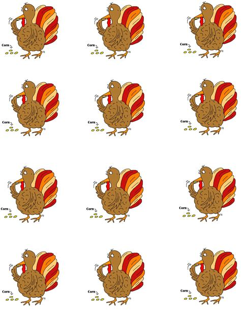 printable turkey stickers thanksgiving templates