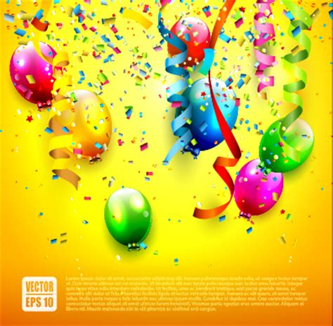 Banner Ulang Tahun 1 X 1m Free Design birthday colored balloons with colorful ribbon background