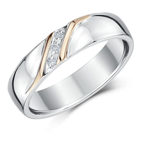5mm Wedding Ring by 5mm Silver Gold Accent Set Wedding Ring